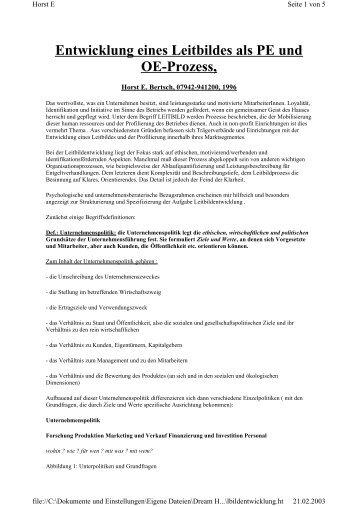 Entwicklung eines Leitbildes als PE und OE-Prozess, - Horst Bertsch
