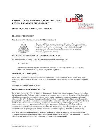 upper st. clair board of school directors regular board meeting report ...