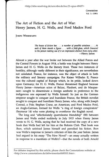The Art of Fiction and the Art of War: Henry James ... - Connotations