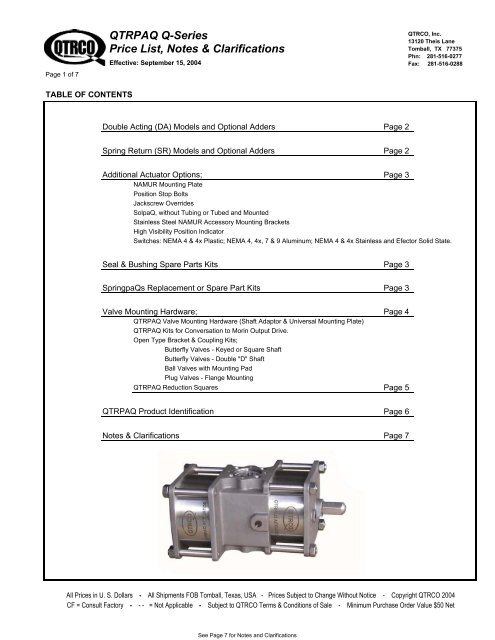 QTRPAQ Q-Series Price List - Bay Port Valve & Fitting