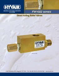 FW Series- Direct Acting Relief Valves - Hyvair