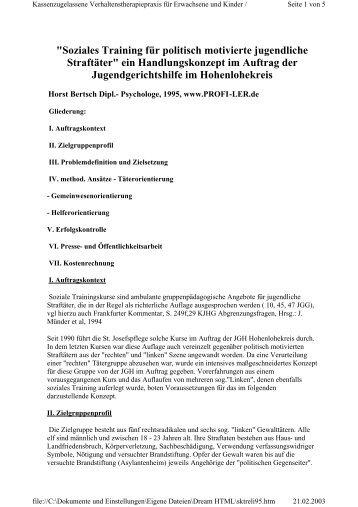 """""""Soziales Training für politisch motivierte jugendliche ... - Horst Bertsch"""