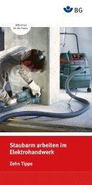 Flyer Staubarm arbeiten im Elektrohandwerk Zehn Tipps