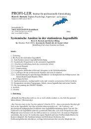 Systemische Ansätze in der stationären Jugendhilfe - Horst Bertsch