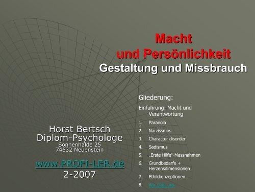 Macht und Persönlichkeit - Horst Bertsch