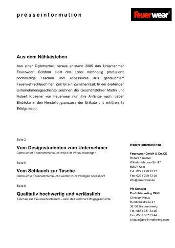 presseinformation - Feuerwear