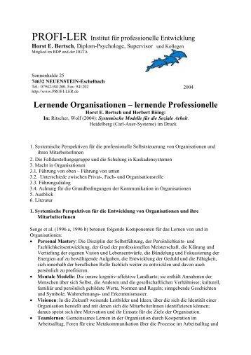 Lernende Organisationen – lernende Professionelle - Horst Bertsch