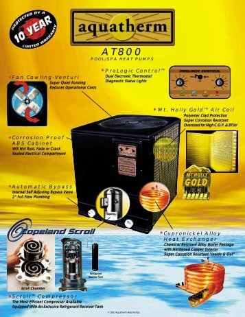 Aquatherm AT800-A Pool Spa Heat Pump Brochure - Solar Direct