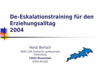 De-Eskalationstraining für den Erziehungsalltag  2004 - Horst Bertsch