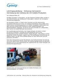 Lehrlingsausbildung – Schulung Carrosserie ... - Carbesa AG