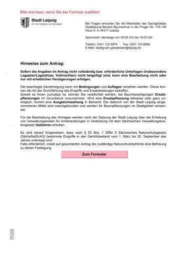 Antrag zur Vornahme von Eingriffen in geschützte Gehölze