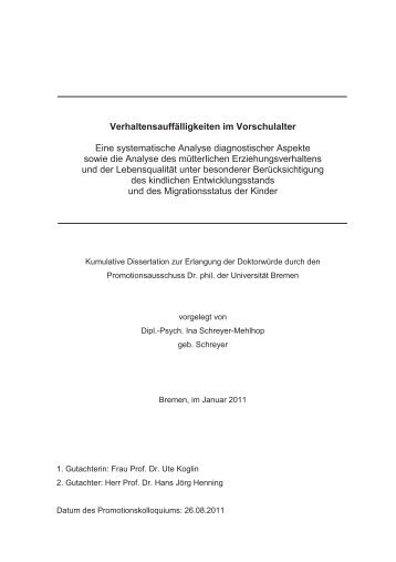Anhang A - E-LIB - Universität Bremen