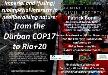 from the Durban COP17 to Rio+20