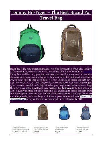 Tommy Hil-Figer – The Best Brand For Travel Bag