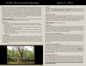 NCSP 2012 Annual Meeting April 27, 2012 - North Carolina Medical ...