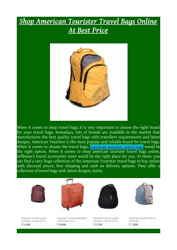 Shop American Tourister Travel Bags Online At Best Price