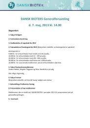 DANSK BIOTEKS Generalforsamling d. 7. maj, 2013 kl. 14.00