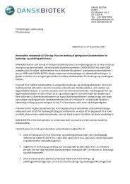 Brev til Skatteudvalget vedrørende skattekreditter - Dansk Biotek