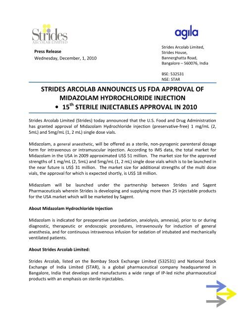 strides arcolab announces us fda approval of midazolam