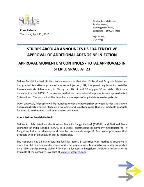 strides arcolab announces us fda tentative approval of additional