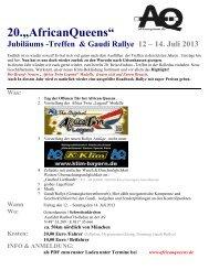 "20.""AfricanQueens"" Jubiläums -Treffen & Gaudi Rallye 12 – 14. Juli ..."