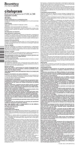 BU CITALOPRAM 20MG 4295702 NOVO PADRA O_BU - Aché