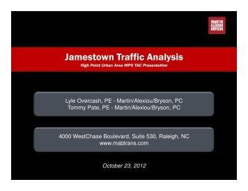 Jamestown Traffic Analysis - Transportation