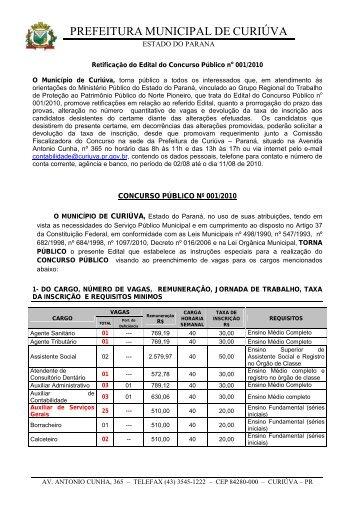 Retificado - Prefeitura Municipal de Curiúva