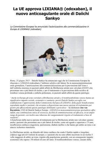 La UE approva LIXIANA® (edoxaban), il nuovo anticoagulante orale di Daiichi Sankyo