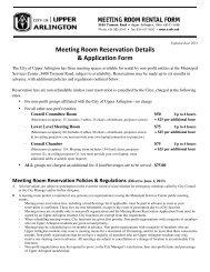 Meeting Room Reservation Details & Application ... - Upper Arlington