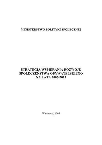 strategia wspierania rozwoju społeczeństwa obywatelskiego na lata ...