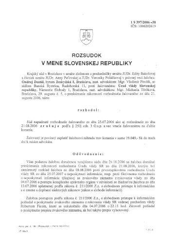 Rozsudok Krajského súdu v Bratislave z 29.3.2007 (PDF)