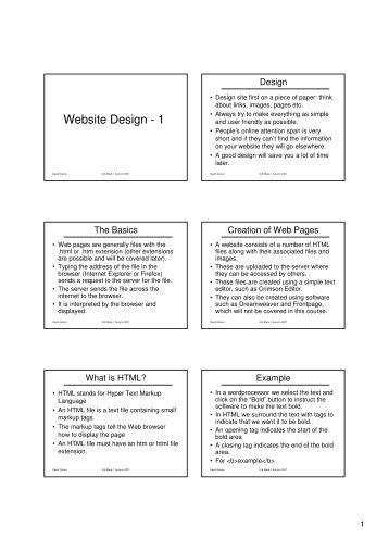 Website Design - 1 - David Gamez