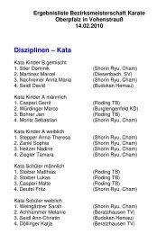 Ergebnisliste Bezirksmeisterschaft 2010