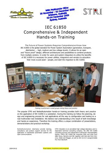 IEC 61850 Comprehensive & Independent Hands-on ... - STRI AB