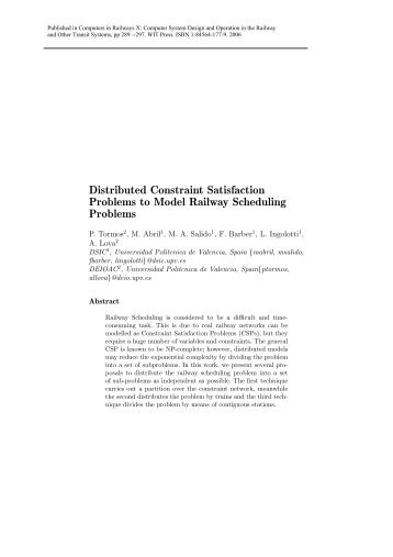 Distributed Constraint Satisfaction Problems to Model ... - ARRIVAL