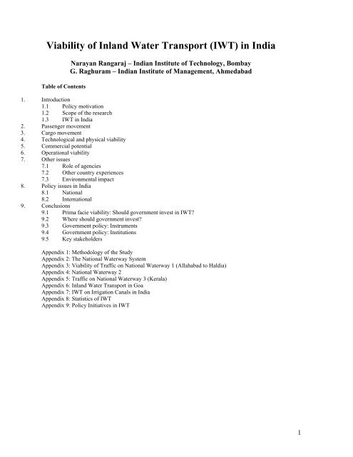 Viability of Inland Water Transport (IWT) in India