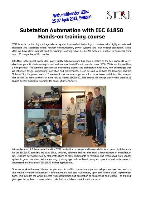 Substation Automation with IEC 61850 Hands-on training