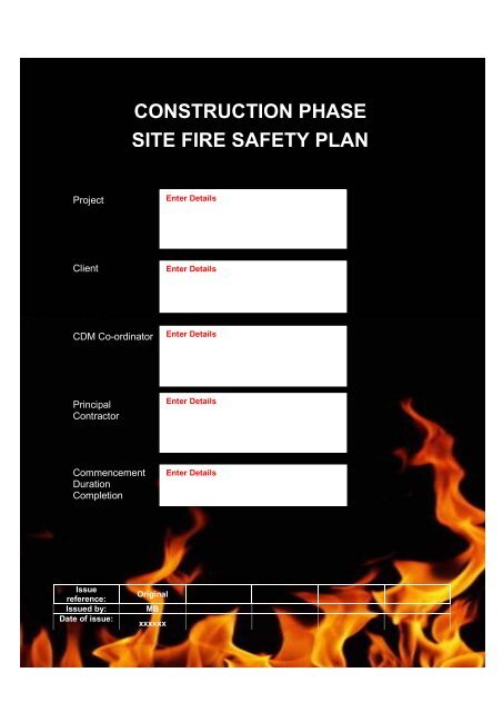 Fire safety management plan template construction project safety.