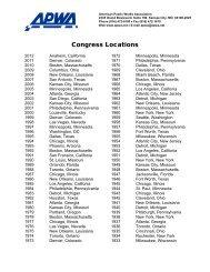 Congress Locations - American Public Works Association
