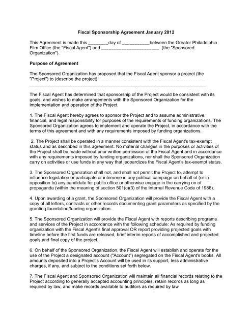 See Sample Agreement Greater Philadelphia Film Office