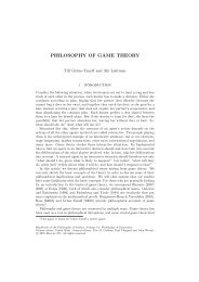 PHILOSOPHY OF GAME THEORY