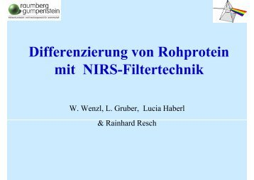 """""""Differenzierung von Rohprotein mit NIRS-Filtertechnik"""" Wenzl ..."""