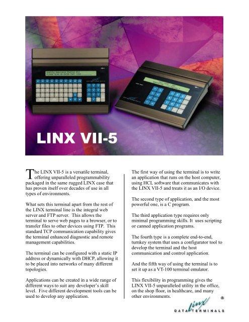 LINX VII-5 Data Sheet - LINX Data Terminals