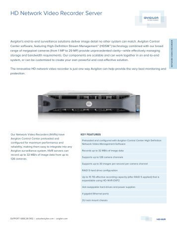Avigilon 15.0TB-HD-NVR Network Video Recorders