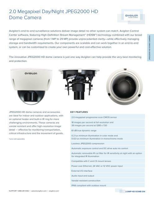 2.0 Megapixel Day/Night JPEG2000 HD Dome Camera - Lobeco