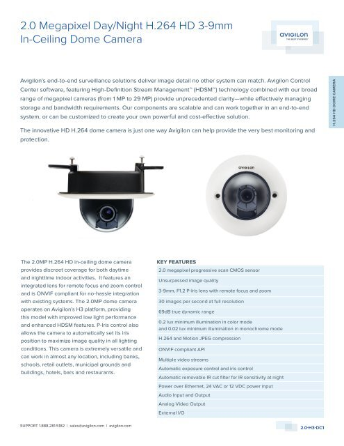 2.0 Megapixel Day/Night H.264 HD 3-9mm In-Ceiling ... - Lobeco