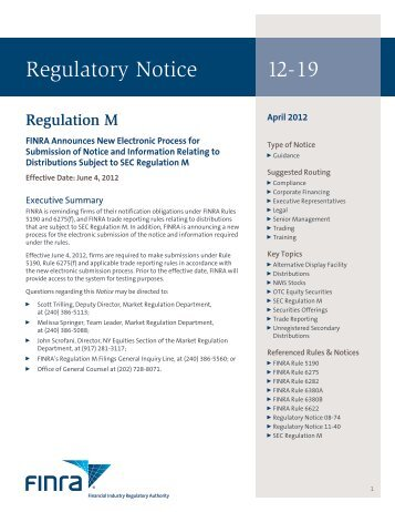 Regulatory Notice 12-19 - FINRA