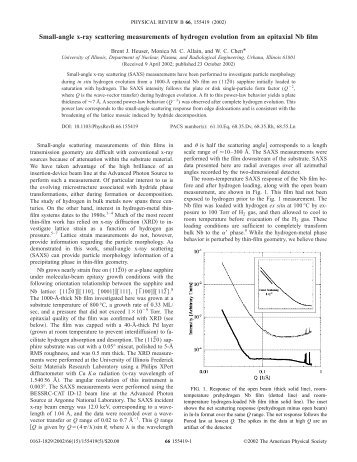 Small-angle x-ray scattering measurements of hydrogen evolution ...