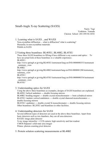 Small-Angle X-ray Scattering (SAXS) - Cheiron School 2011 ...